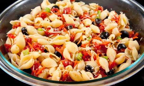 Ingredients: 12 oz package shell pasta, cooked and rinsed 28 oz can diced tomatoes, drained 2 carrots, sliced ½ red bell pepper, cubed ½ green bell pepper, cubed 1 can Read More
