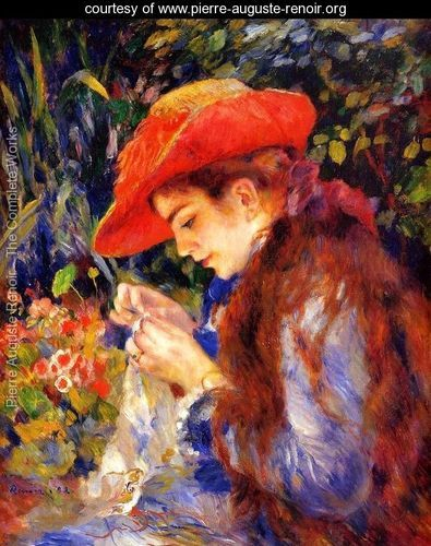 Mademoiselle Marie-Therese Durand-Ruel Sewing - Pierre Auguste Renoir - www.pierre-auguste-renoir.org