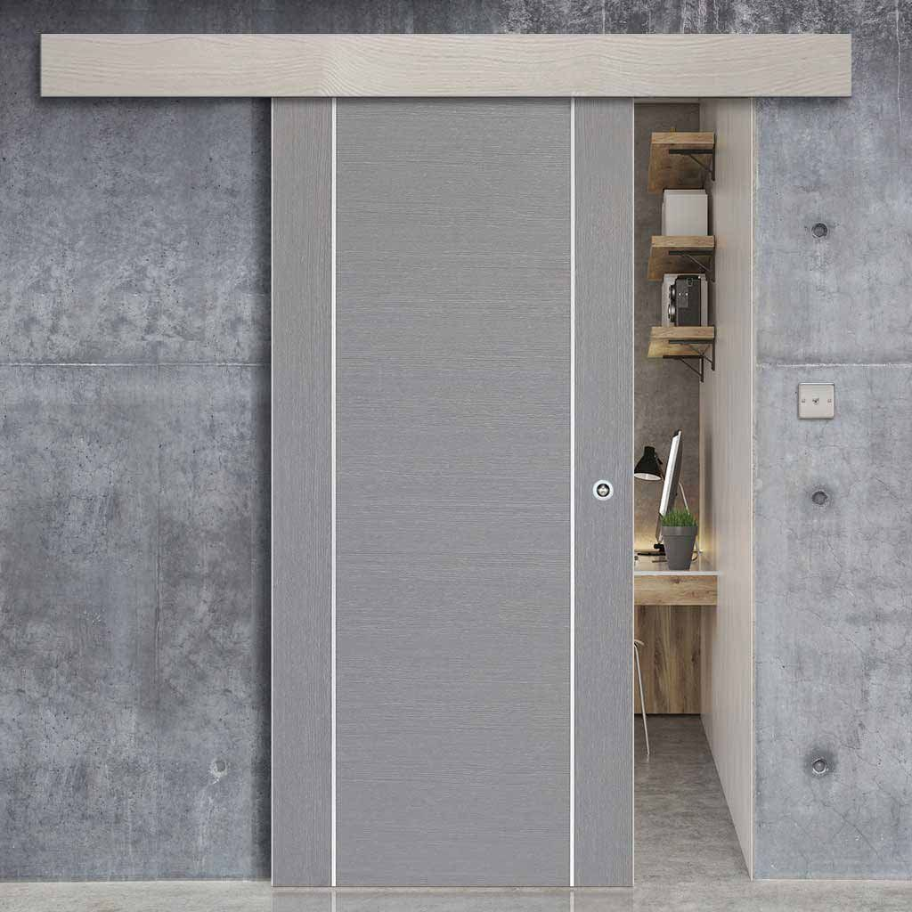 Thruslide Surface Forli Light Grey Flush Sliding Door And Track Kit Aluminium Insert Prefinished Lifest Sliding Doors Internal Sliding Doors Loft Style
