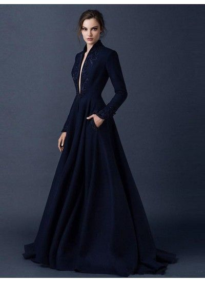 Dunkelmarineblau Abendkleider V-Ausschnitt Brush Train Lange Ärmel Perlenstickerei Abendkleider # VB1083 #gorgeousgowns