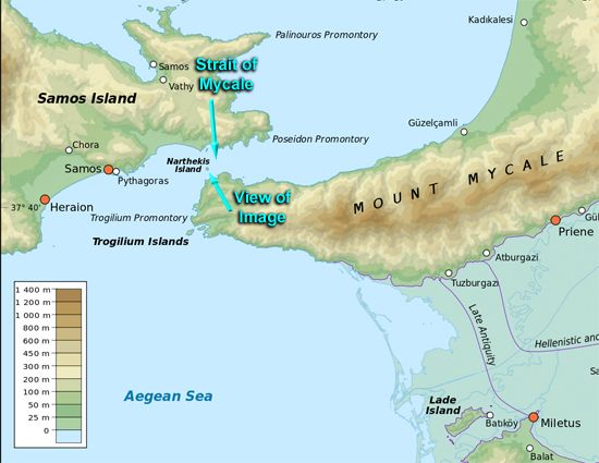 Map showing the Strait of Mycale that is between Samos Island and