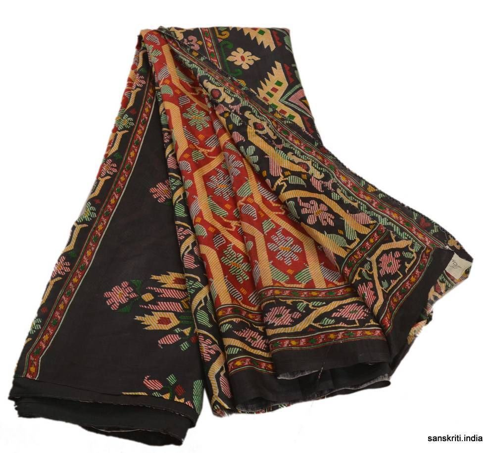 Pure silk saree vintage indian saree printed fabric pure silk sari craft  yard