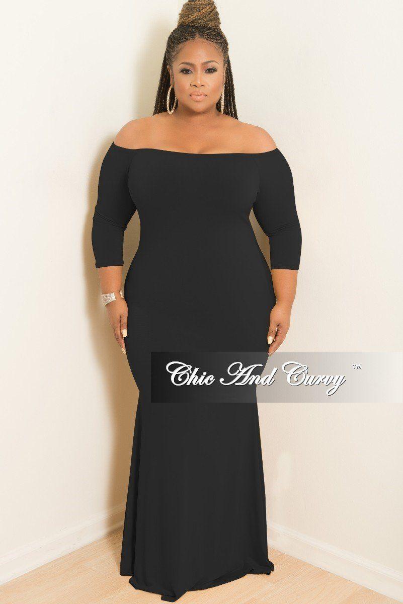 47e0e3475 Final Sale Plus Size Off the Shoulder Mermaid Dress in Black in 2019 ...