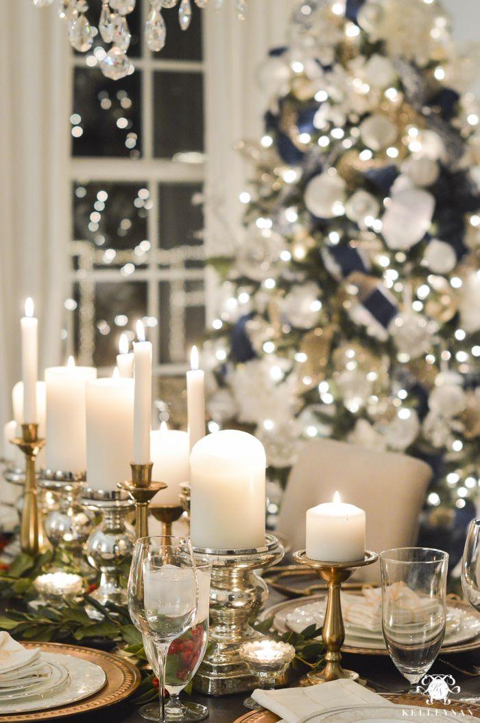 Blogger Progressive Dinner Christmas Edition The Entree Kelley Nan Christmas Dining Table Decor Elegant Christmas Centerpieces Christmas Dining Room