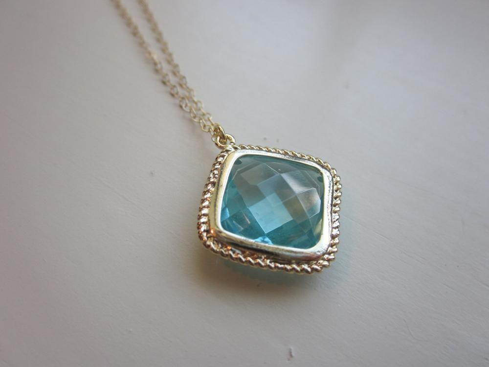 Aquamarine necklace gold plated aqu wedding jewelry diamond aquamarine necklace gold plated aqu aloadofball Image collections