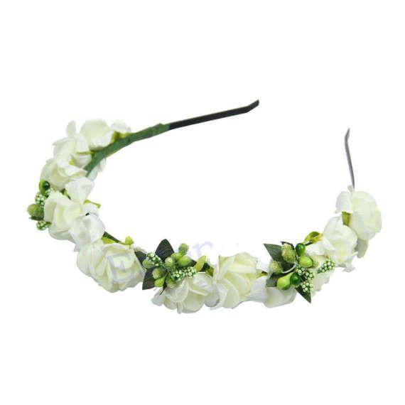 White flower garland headband bride bridesmaid flower girl fairy white flower garland headband bride by lindyloostreasures on etsy mightylinksfo