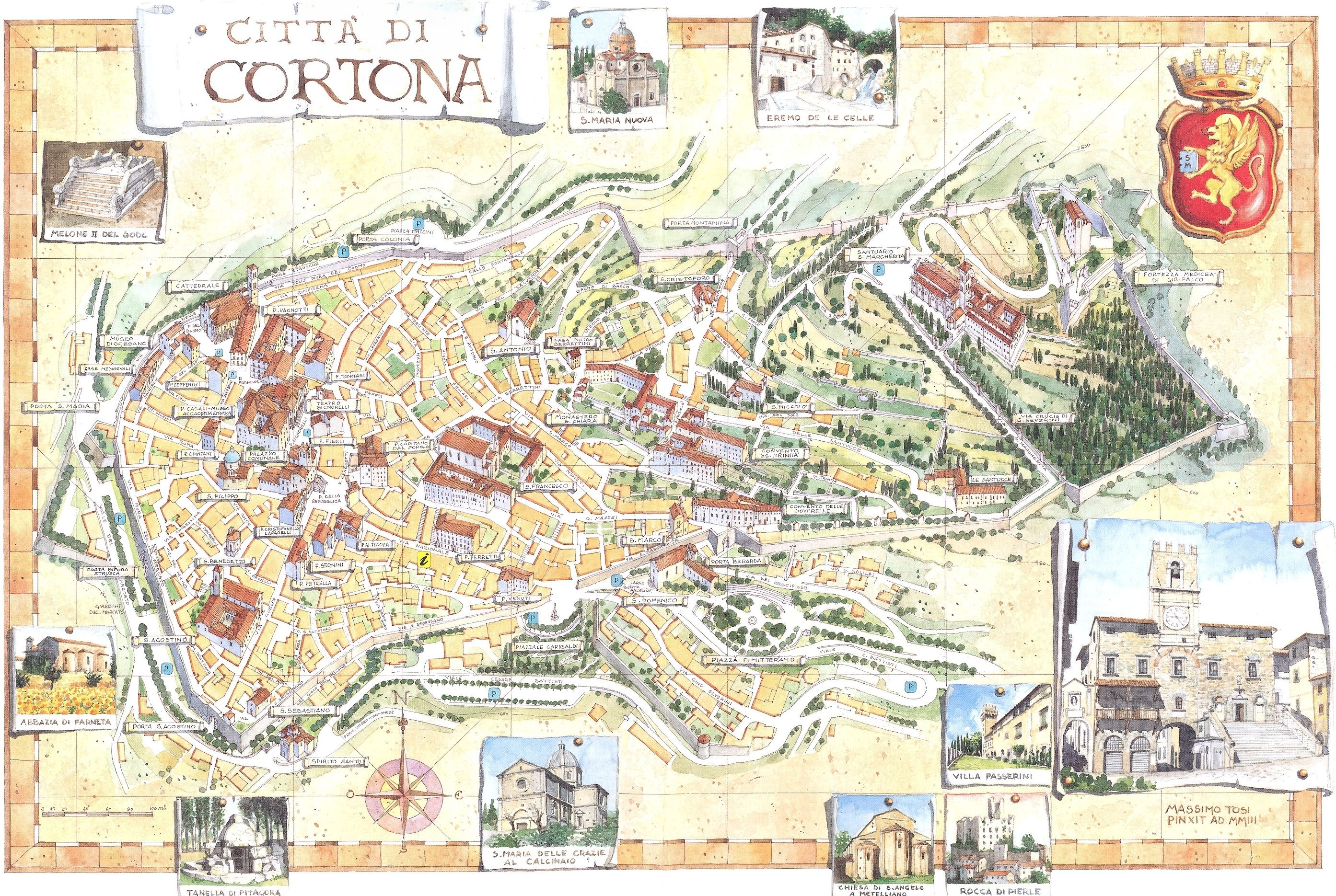 Cortona map. | Mapquest | Framed maps, All about italy, Map