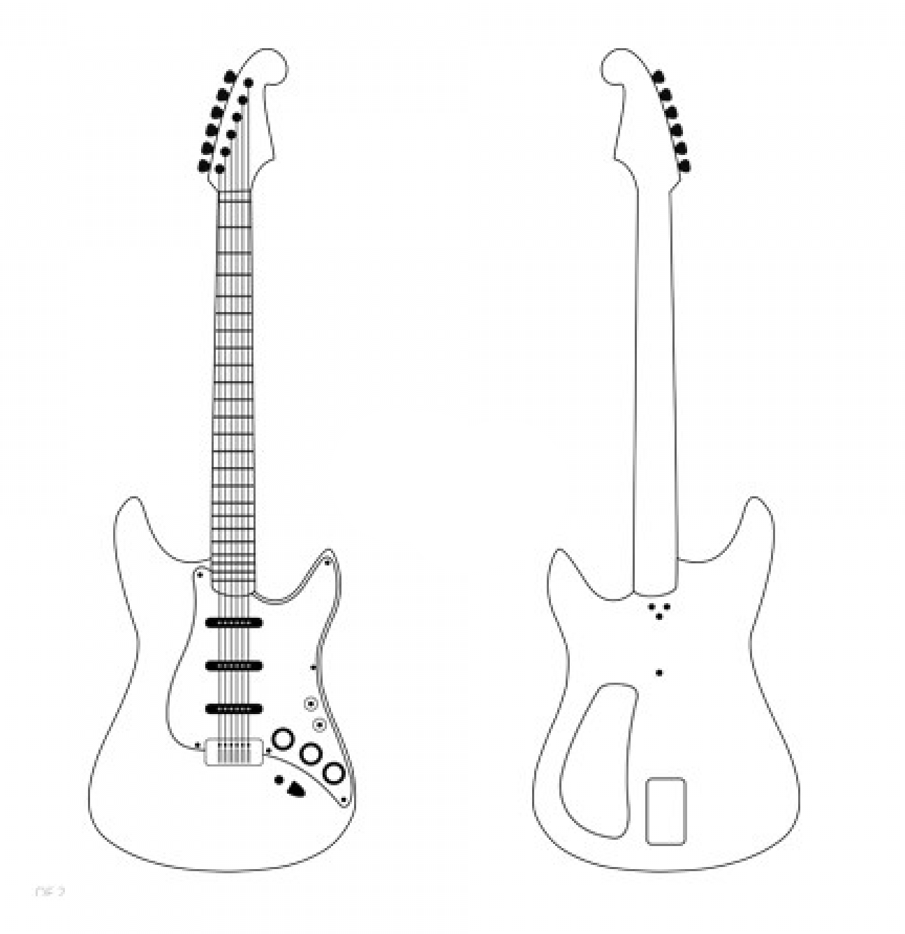 Electric Guitar Template In 2020 Paper Model Car Popsicle Stick Houses Diy Art