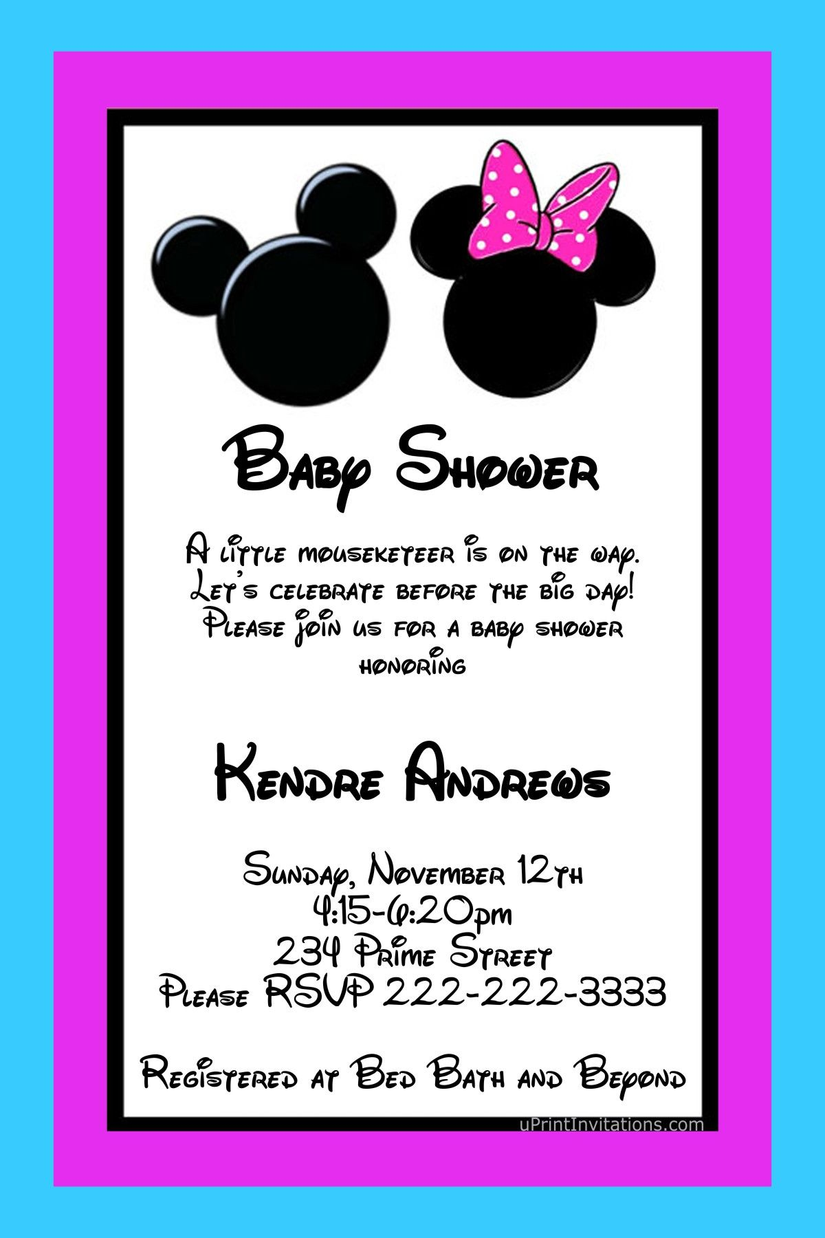 Mickey and Minnie Mouse Baby Shower Invitations ANY COLOR Scheme ...