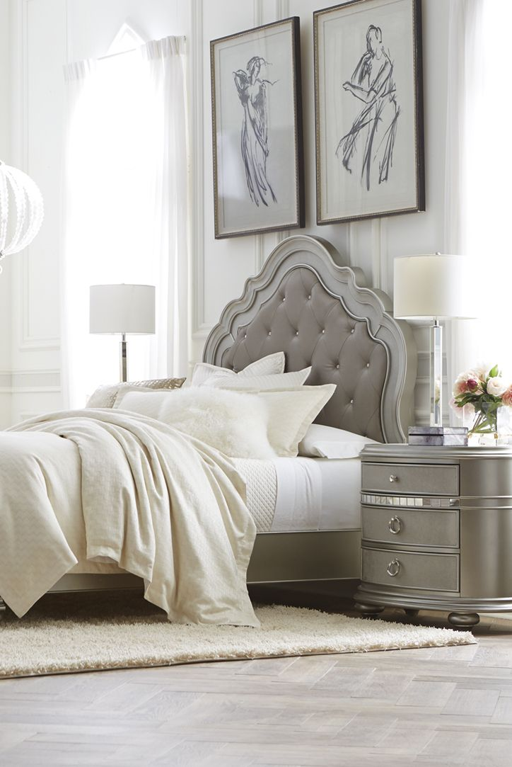 The Havertys Brigitte bed features a platinum finish and an