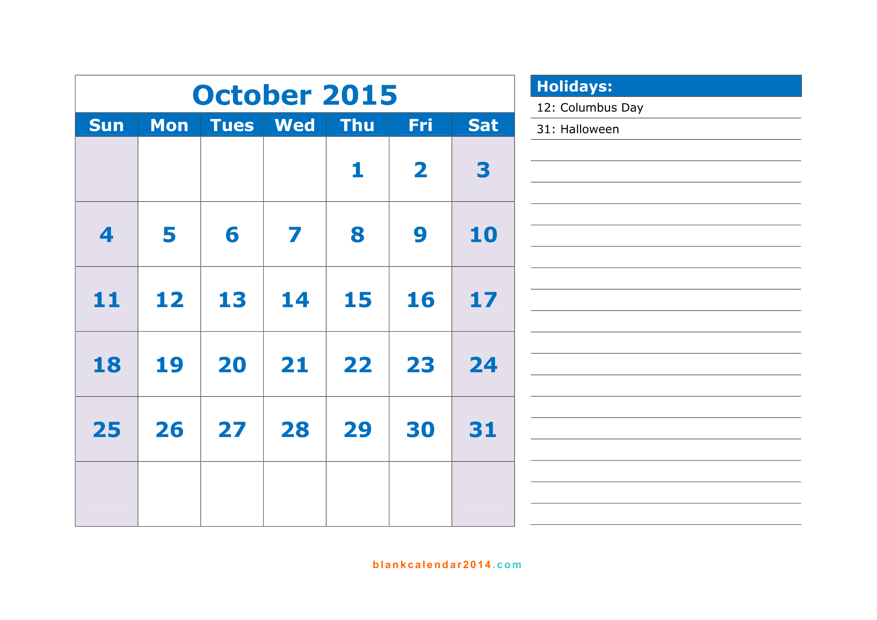 2015 calendar with holidays template