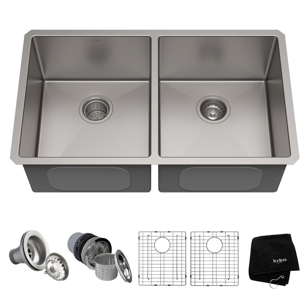 Kraus Standart Pro 33in 16 Gauge Undermount 50 50 Double Bowl Stainless Steel Kitchen Sink Silver Steel Kitchen Sink Double Bowl Kitchen Sink Stainless Steel Sinks