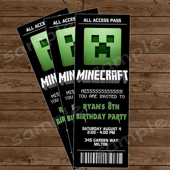 Minecraft Invitations  Jub    Ticket Invitation Etsy