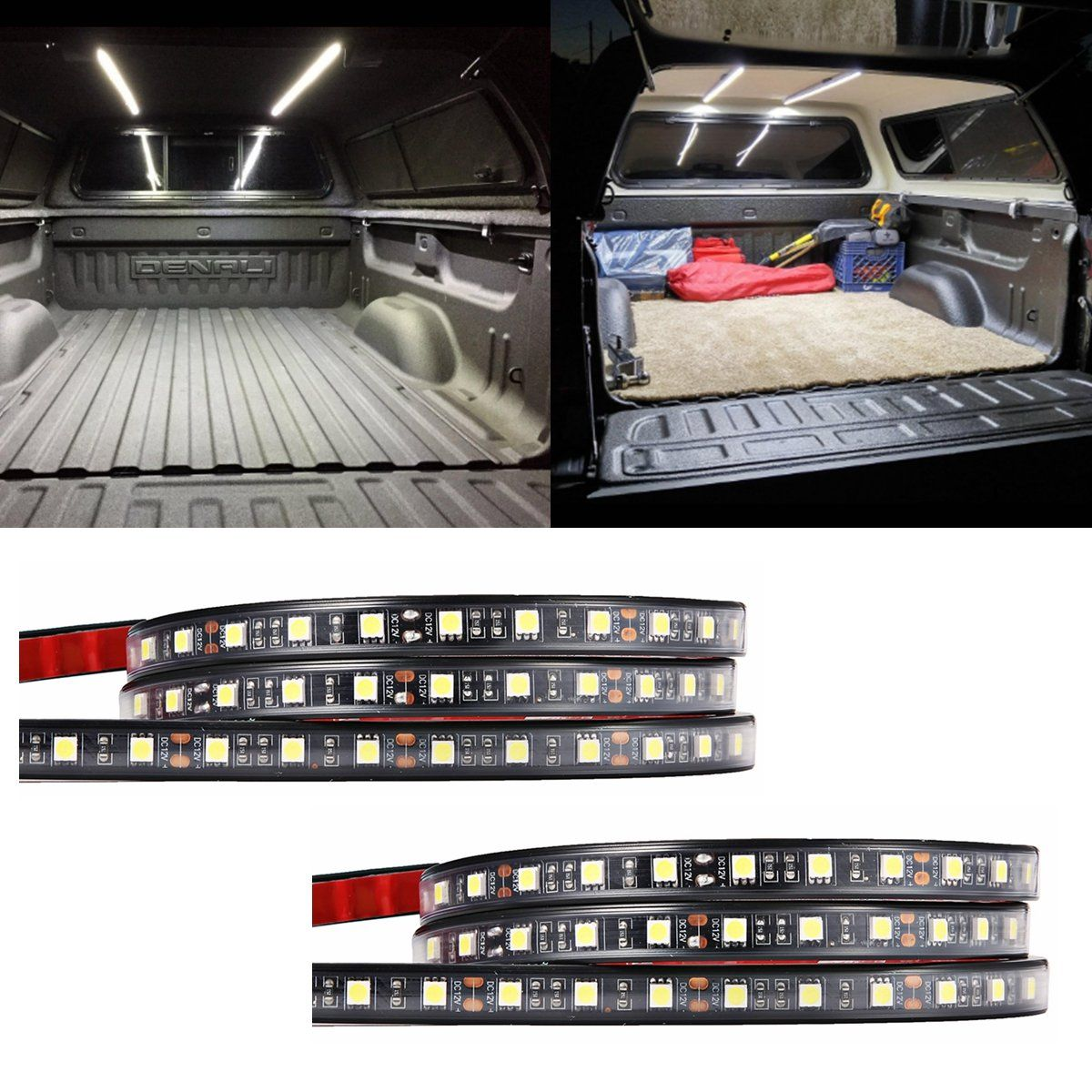 Audew 2pcs 60 Truck Bed Light Strips Unloading Cargo With 2 Way Switch For Car Waterproof On Off Fuse Plug N Play Splitter Lighting System Pickup