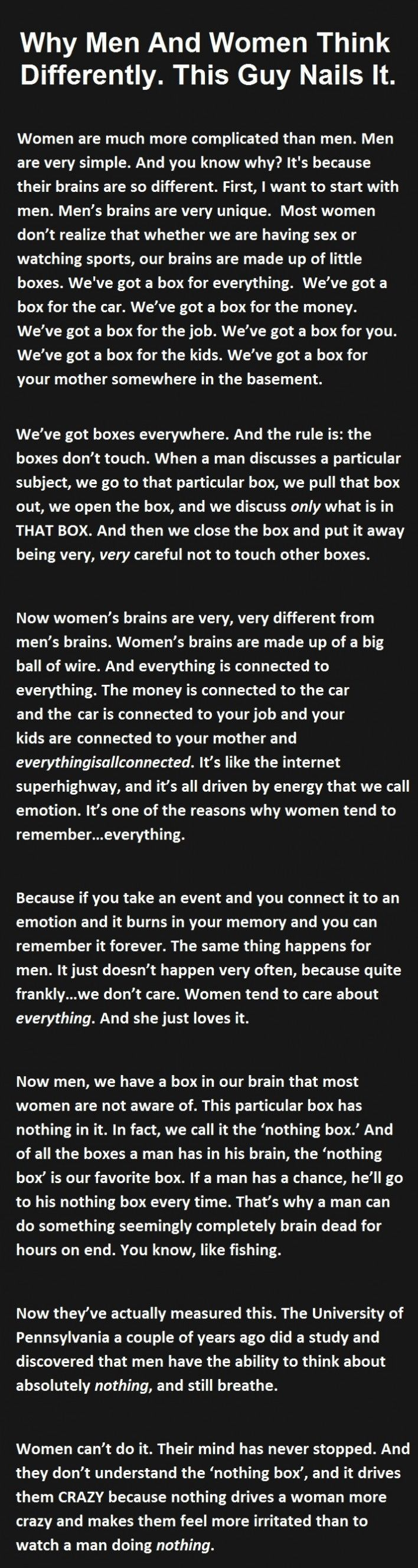 Life quotes and sayings quotes lol rofl com - Why Men And Women Think Differently This Guy Nails It Funny Quotes Quote Jokes Story Lol