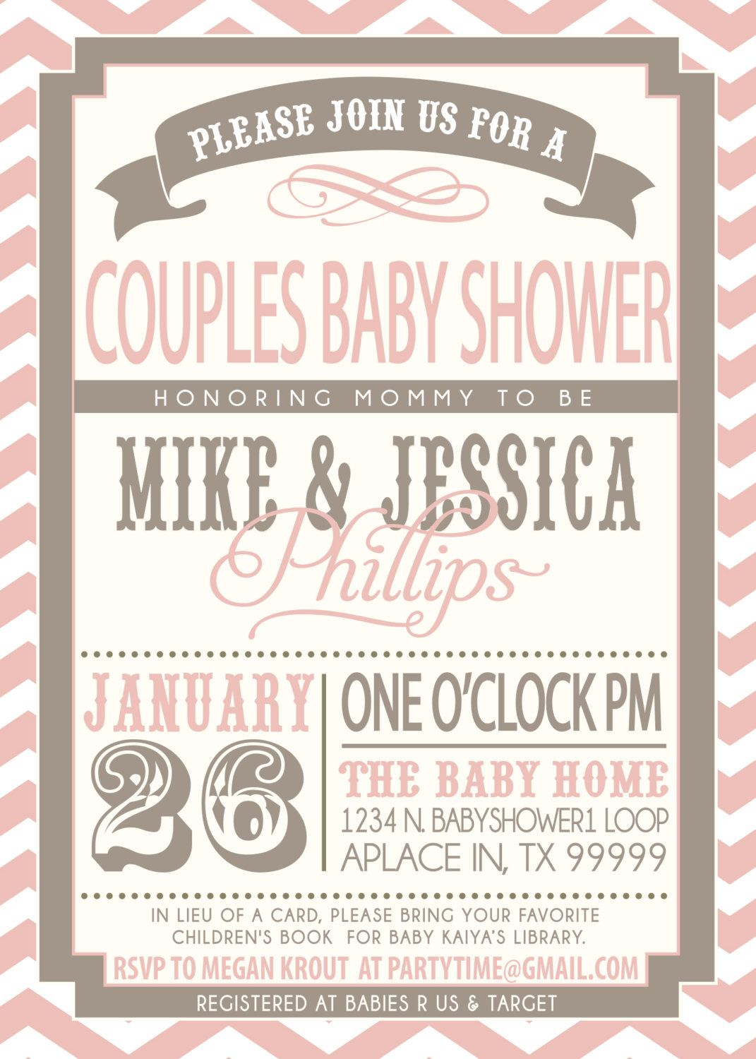 Couples Baby Shower invitation - pink and grey | Couples baby ...