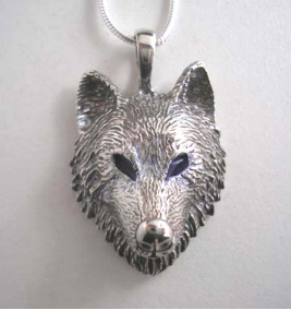 Timber Wolf Pendant in Sterling Silver