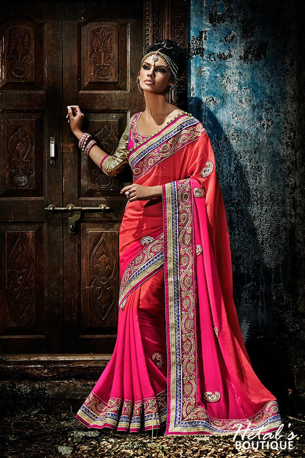 Dusty Pink Color Shaded Georgette fabric deigner saree