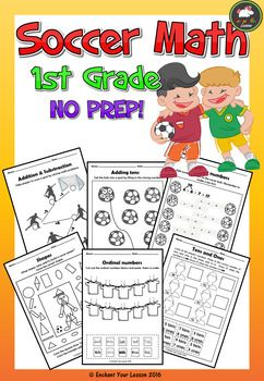 If kids in your classroom love soccer, they'll love this resource. It includes 8 no prep soccer-themed math printables  which will add in some fun to your math lessons!  Your kids can practice  the following  skills:- addition & substraction up to 20 - adding by tens- adding 3 numbers by making a 10- substracting by making a 10 - dimensional shapes- ordinal numbers- tens & ones- measuring length in cm                      Enjoy!