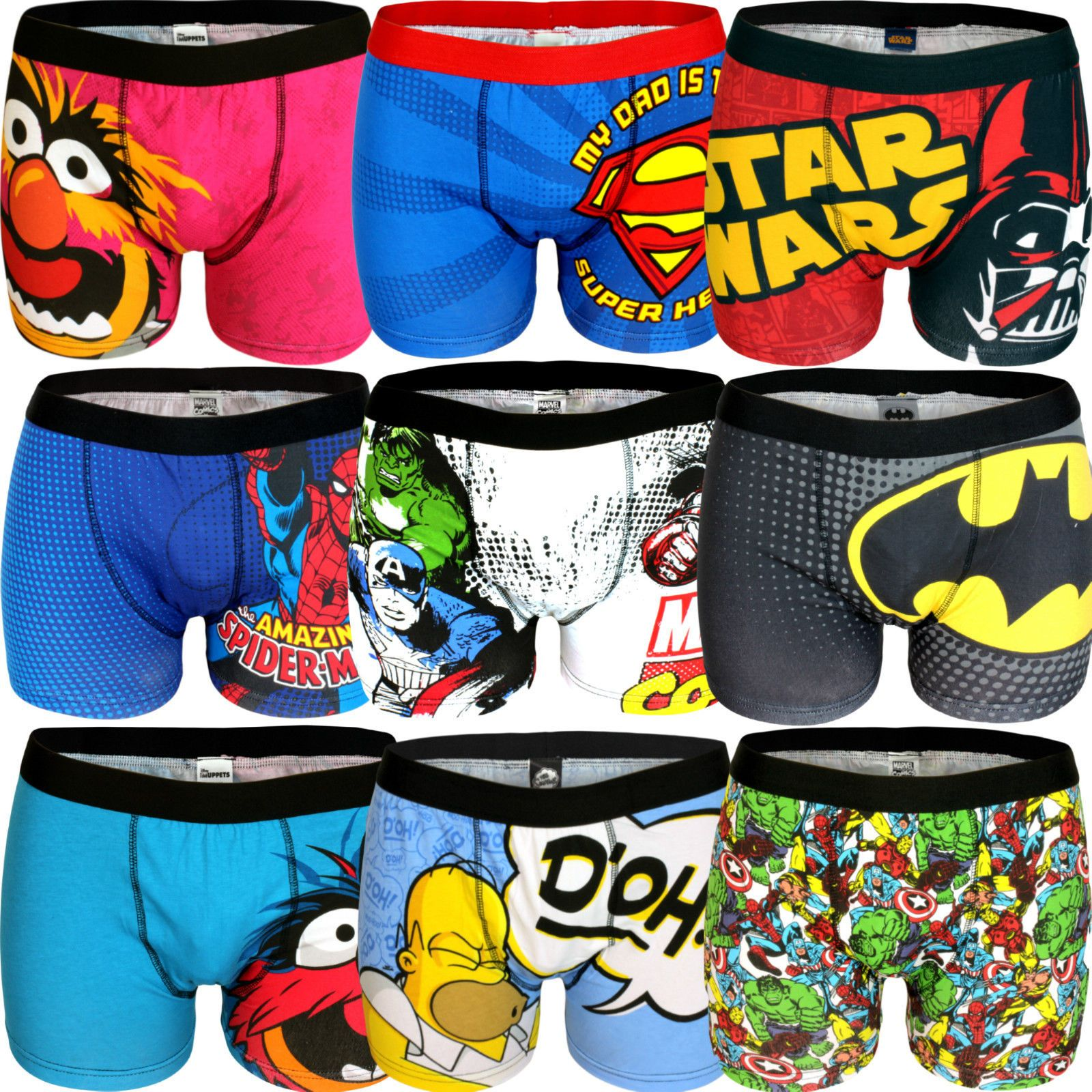 19cba480284a Mens Character Boxers Trunks Underwear Shorts Briefs Gift Novelty Comic Tv