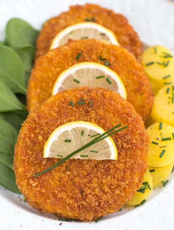 Vegane Sellerieschnitzel mit Cornflakes Panade