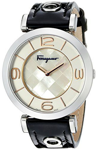 Salvatore Ferragamo Women's FG3020014 GANCINO DECO Analog Display Quartz Black Watch *** Click image to review more details.
