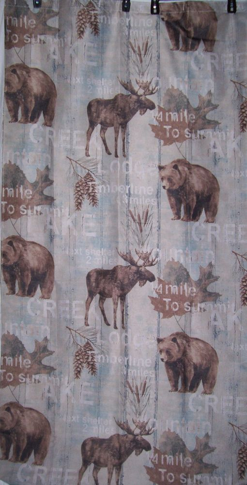 Bear Moose Fabric Shower Curtain Pinecones Cattails Wilderness Cabin Lodge NEW MainstreamInternational