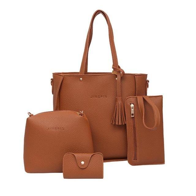 c60502590daf 4 SET Luxury Women's PU Handbags   包包白底摆法   Leather crossbody ...