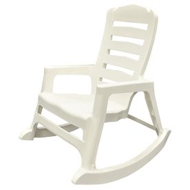 Incredible Adams Mfg Corp White Resin Slat Seat Outdoor Rocking Chair Home Interior And Landscaping Ferensignezvosmurscom
