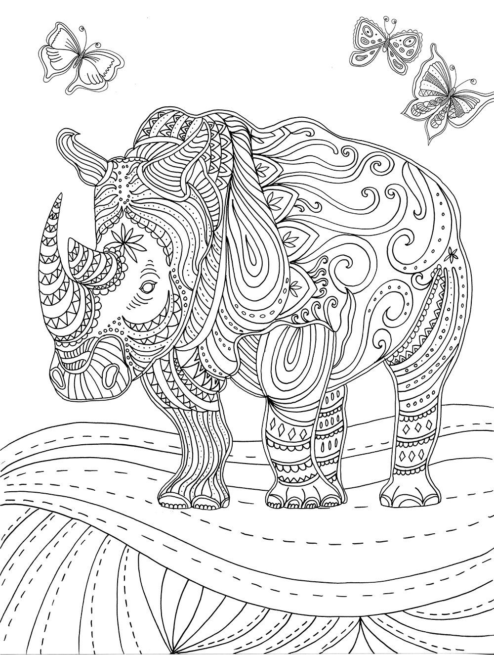 Rhino Colouring Page | Colouring Pages | Pinterest | Rhinos, Adult ...