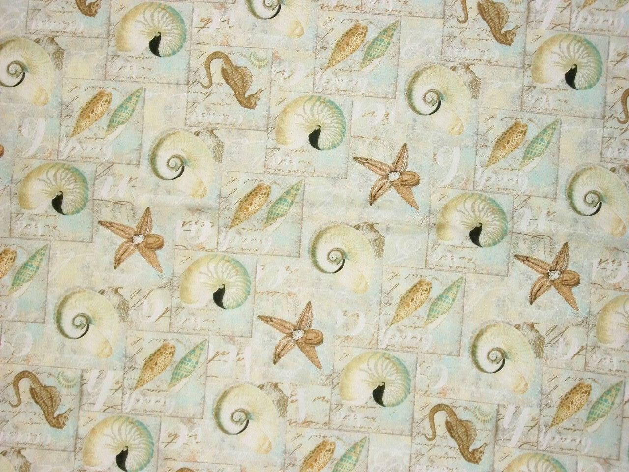 Beach Fabric By The Yard Seashell David Textiles Starfish Quilting Sewing Ocean Seahorse