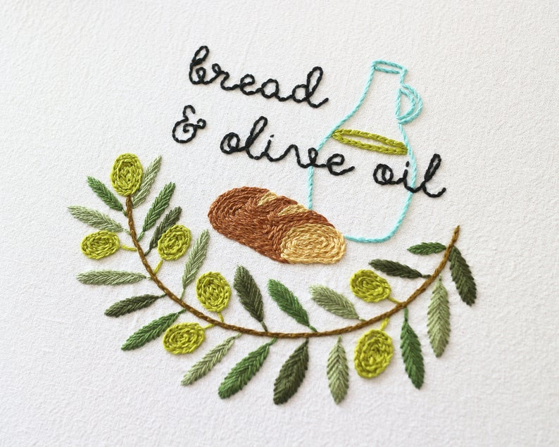 Hand Embroidery Pattern PDF _ Bread and Olive Oil _ Olive | Etsy