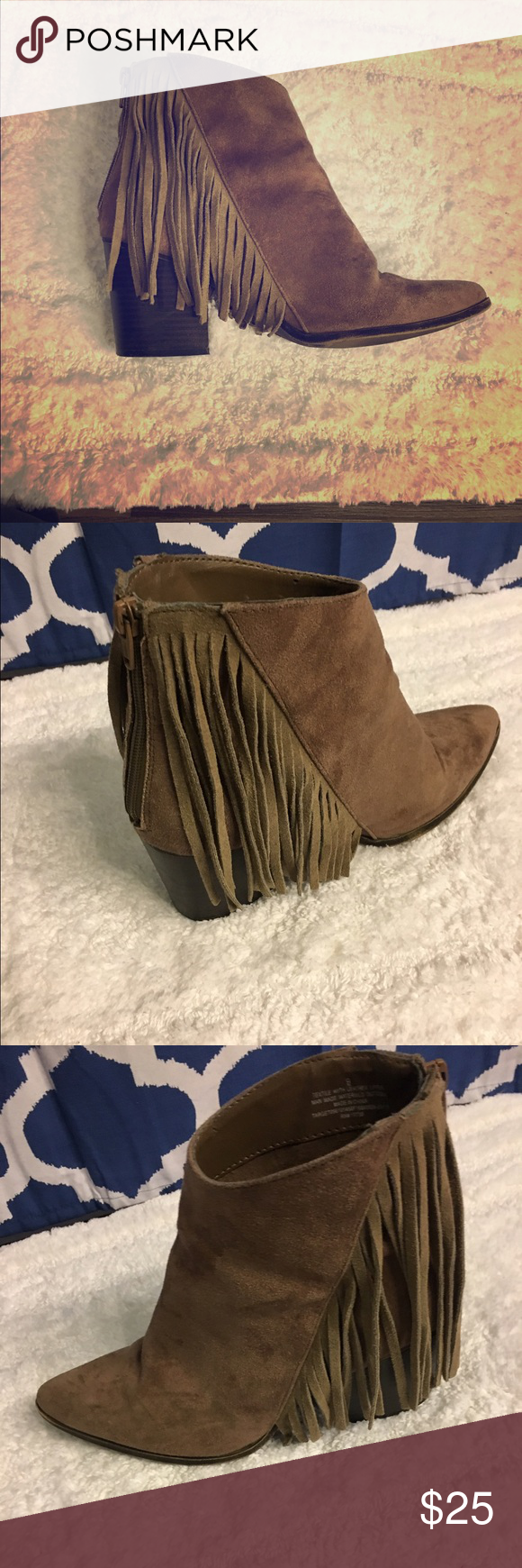Fringe booties Fun Fringe booties some wear and tear Mossimo Supply Co Shoes Ankle Boots & Booties