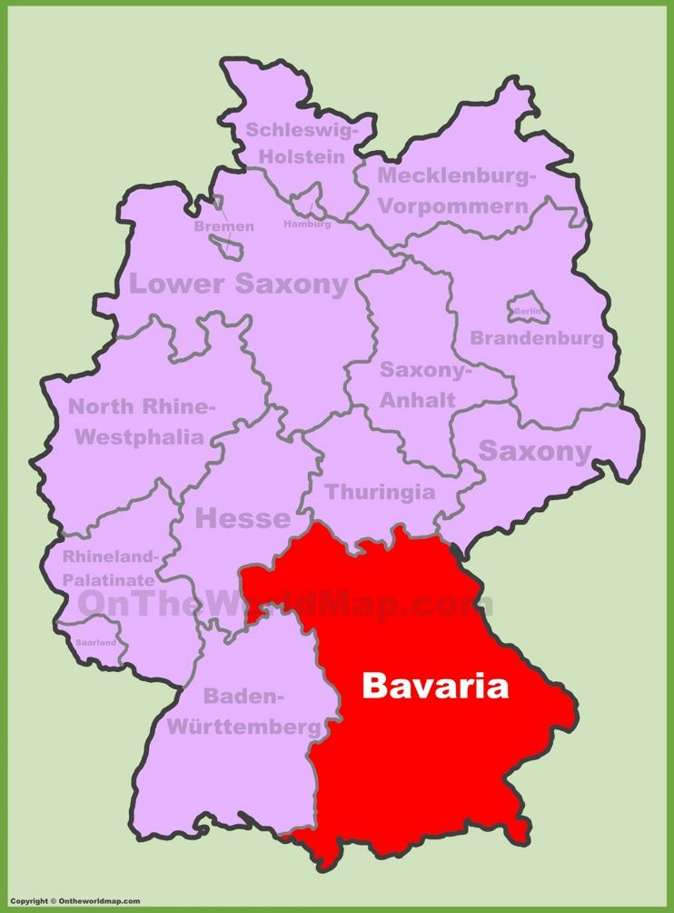 Bavaria location on the Germany map EuDMnchenNeuschwanstein