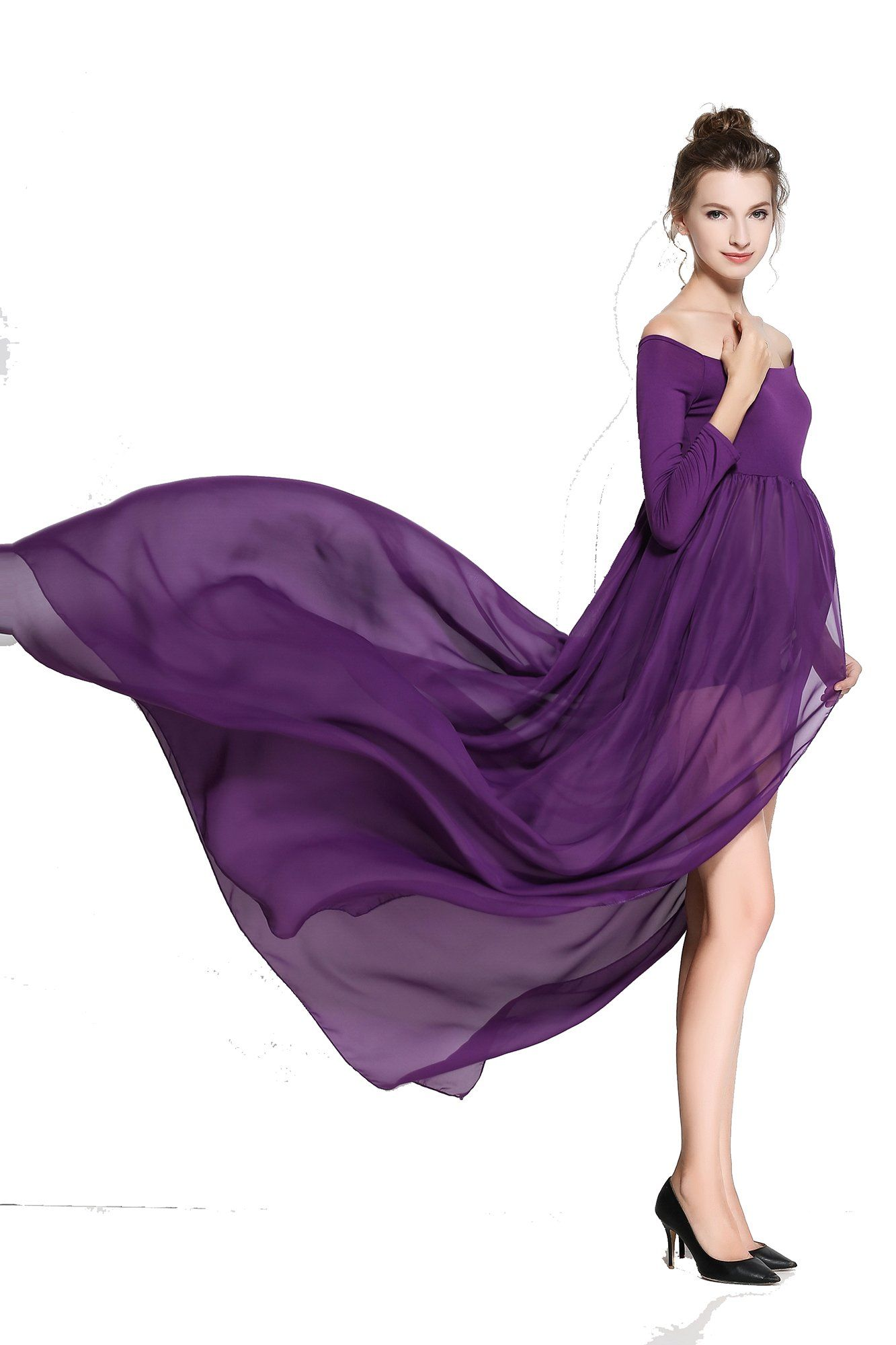 79bf8651cb3c0c Maternity Styles - skin-tight maternity dresses   WELIVE Womens Long Sleeve  Split Front Chiffon Maternity Gown Maternity Dress Photography Dress      Learn ...