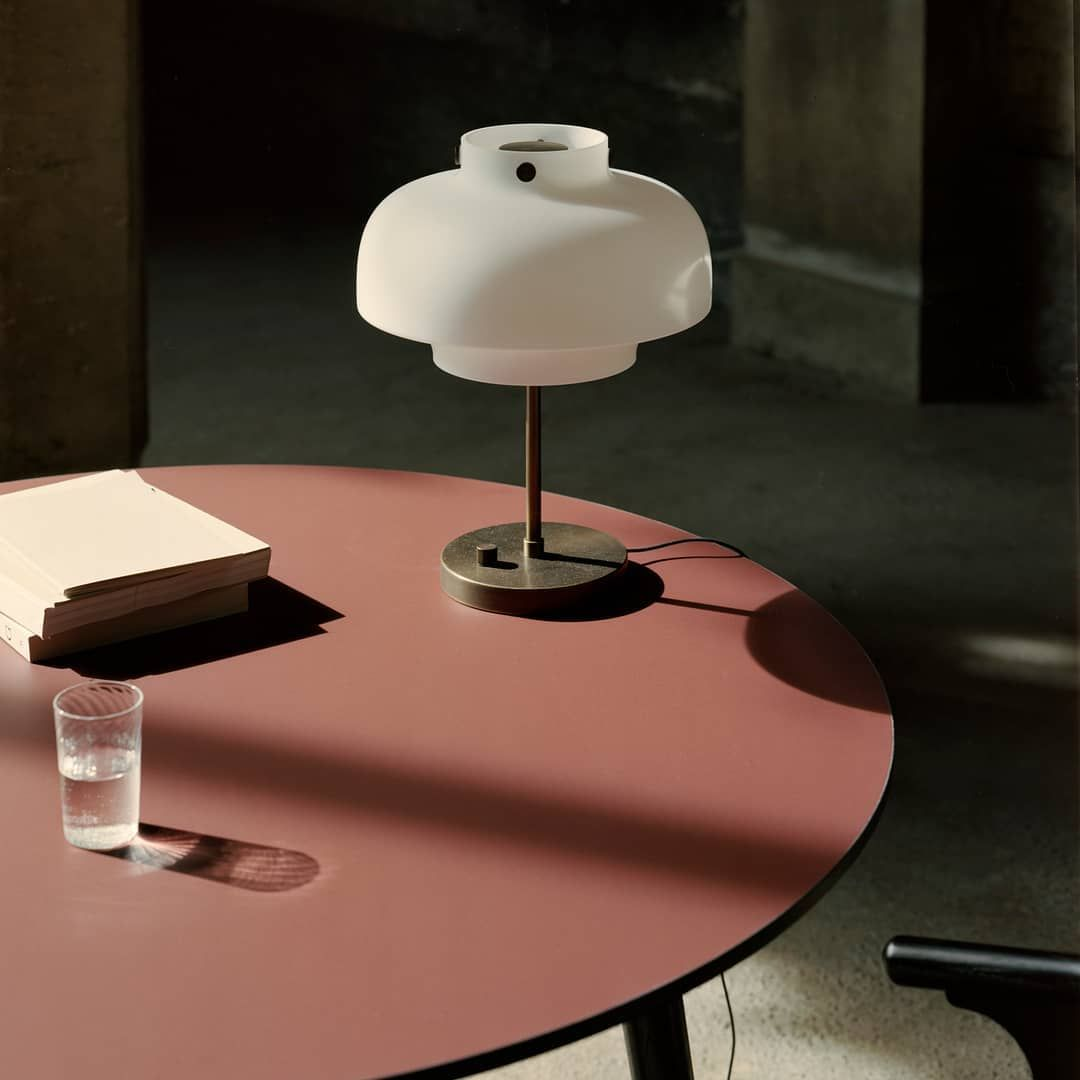Andtradition On Instagram Reflections With The Copenhagen Table Lamp In Opal Mouth Blown Glass Here Accompanied By In Bet Mouth Blown Glass Table Lamp Lamp