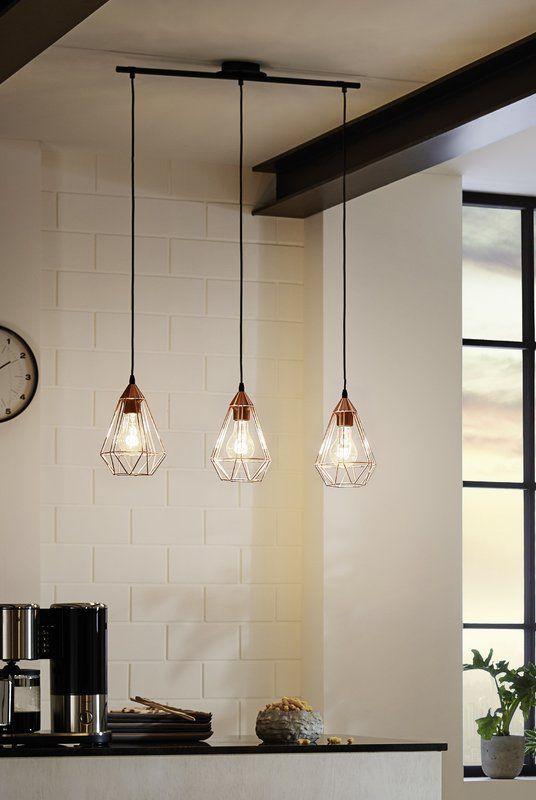 Tarbes 3 Light Kitchen Island Pendant Hanging Lights Kitchen Linear Pendant Lighting Kitchen Pendant Lighting