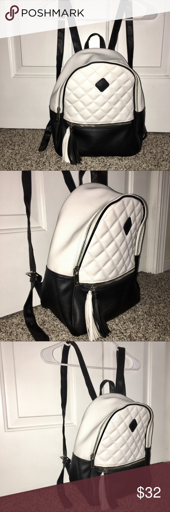 ec4451b0b Monochrome Quilted Backpack🖤 The backpack features faux leather fabric  with adjustable straps and a grab