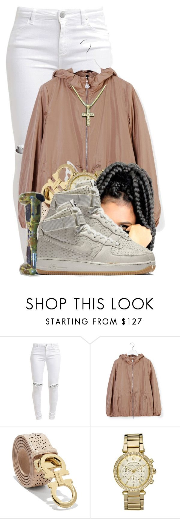 """Trap House 3"" by aniahrhichkhidd ❤ liked on Polyvore featuring FiveUnits, Moncler, Salvatore Ferragamo, Michael Kors and NIKE"