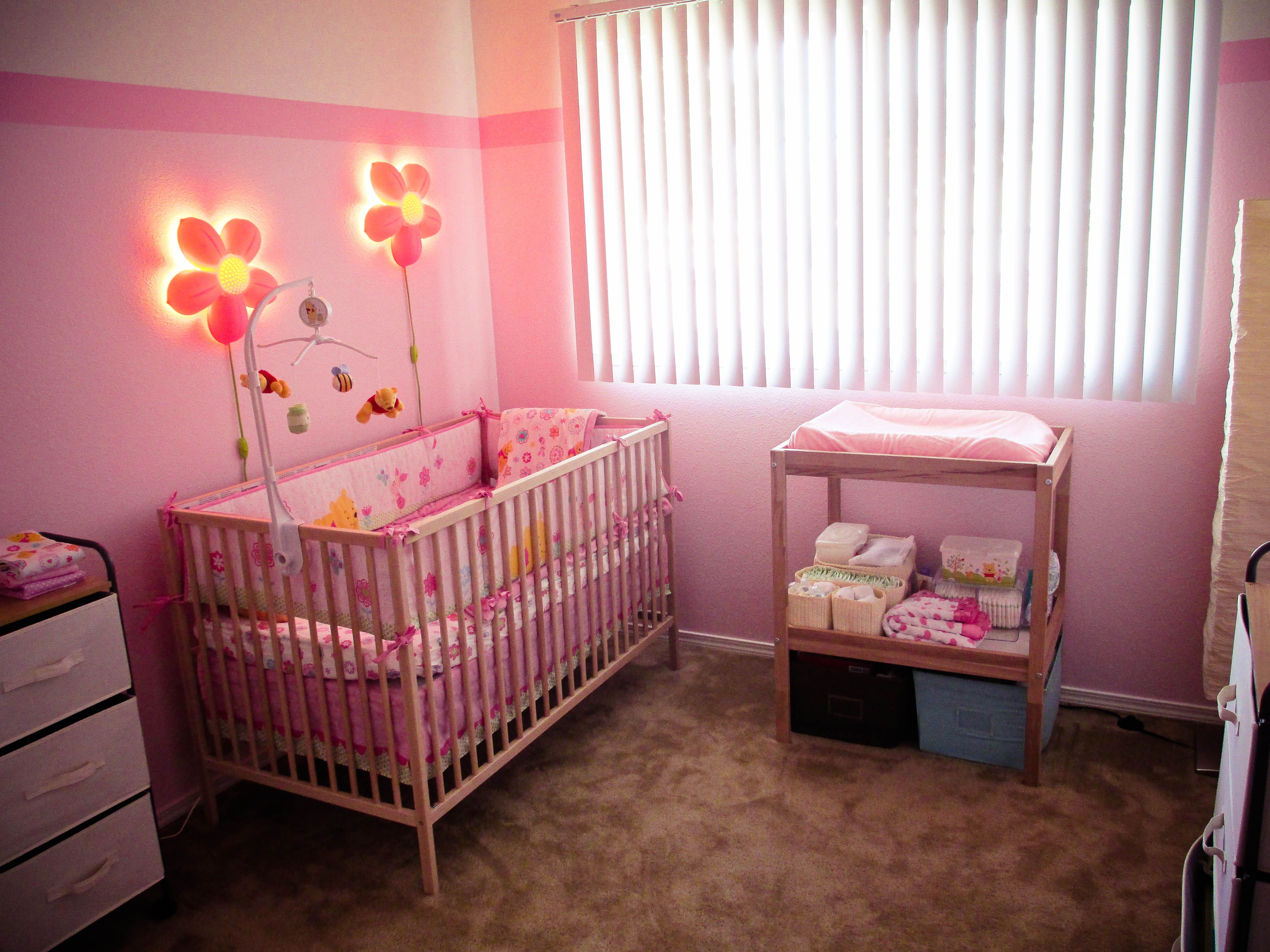 My Baby Girls Room Flower Lights Crib Changing Table And Lamps