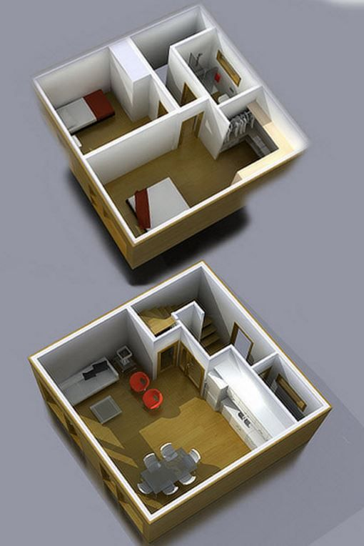 Casa de 6x6 de dos pisos casas en 2019 bedroom house for Planos de casas pequenas de dos plantas