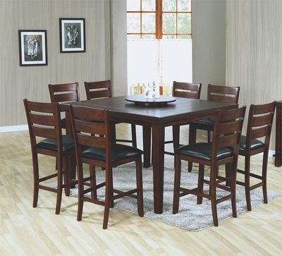 54 Square Pub Table With Lazy Susan 8 Bar Chairs 9 Pc Set Monarch Furniture Kitchen Table Settings Top Kitchen Table High Top Dining Table Counter height square table for 8