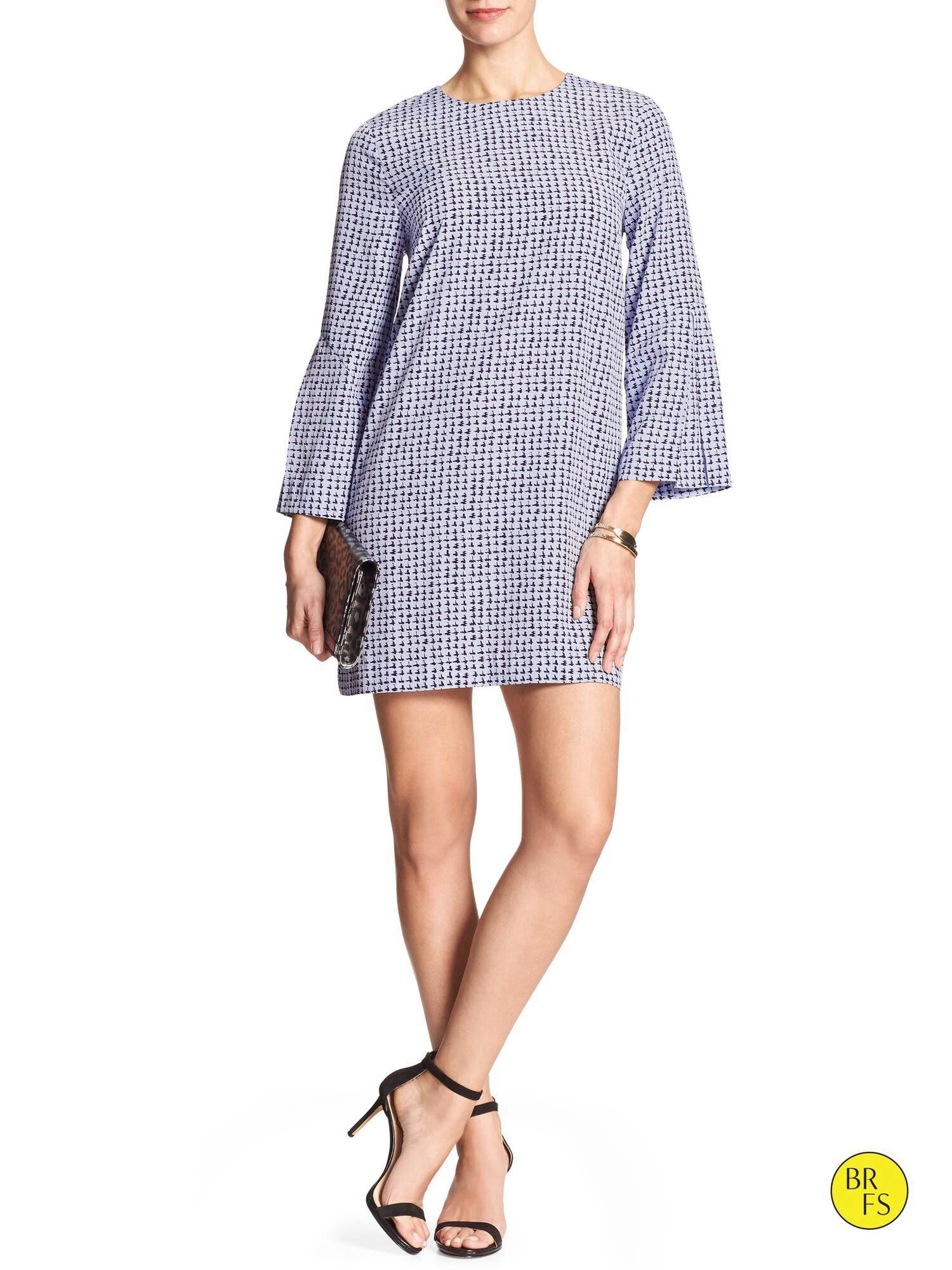 Banana Republic Blue Bell-Sleeve Print Tunic Dress