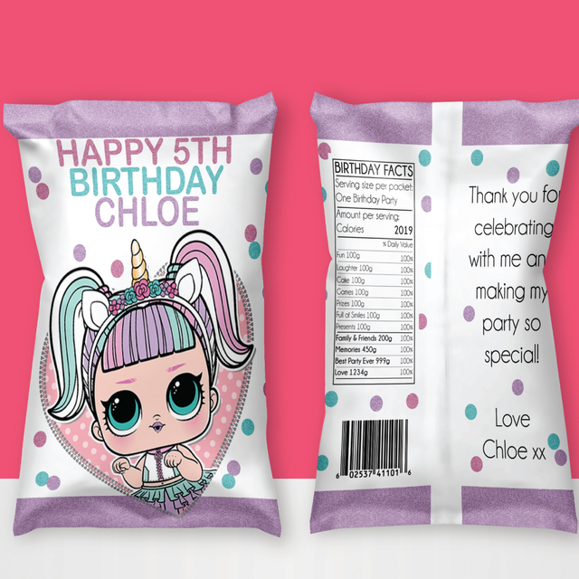 LOL Surprise Unicorn Birthday Personalised Chips/Lolly