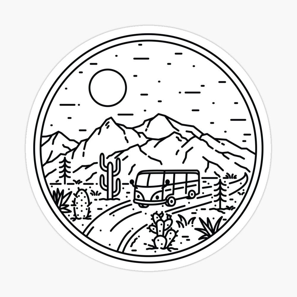 Van Desert Sticker By Quilimo Studio Print Stickers Easy Doodles Drawings Doodle Drawings