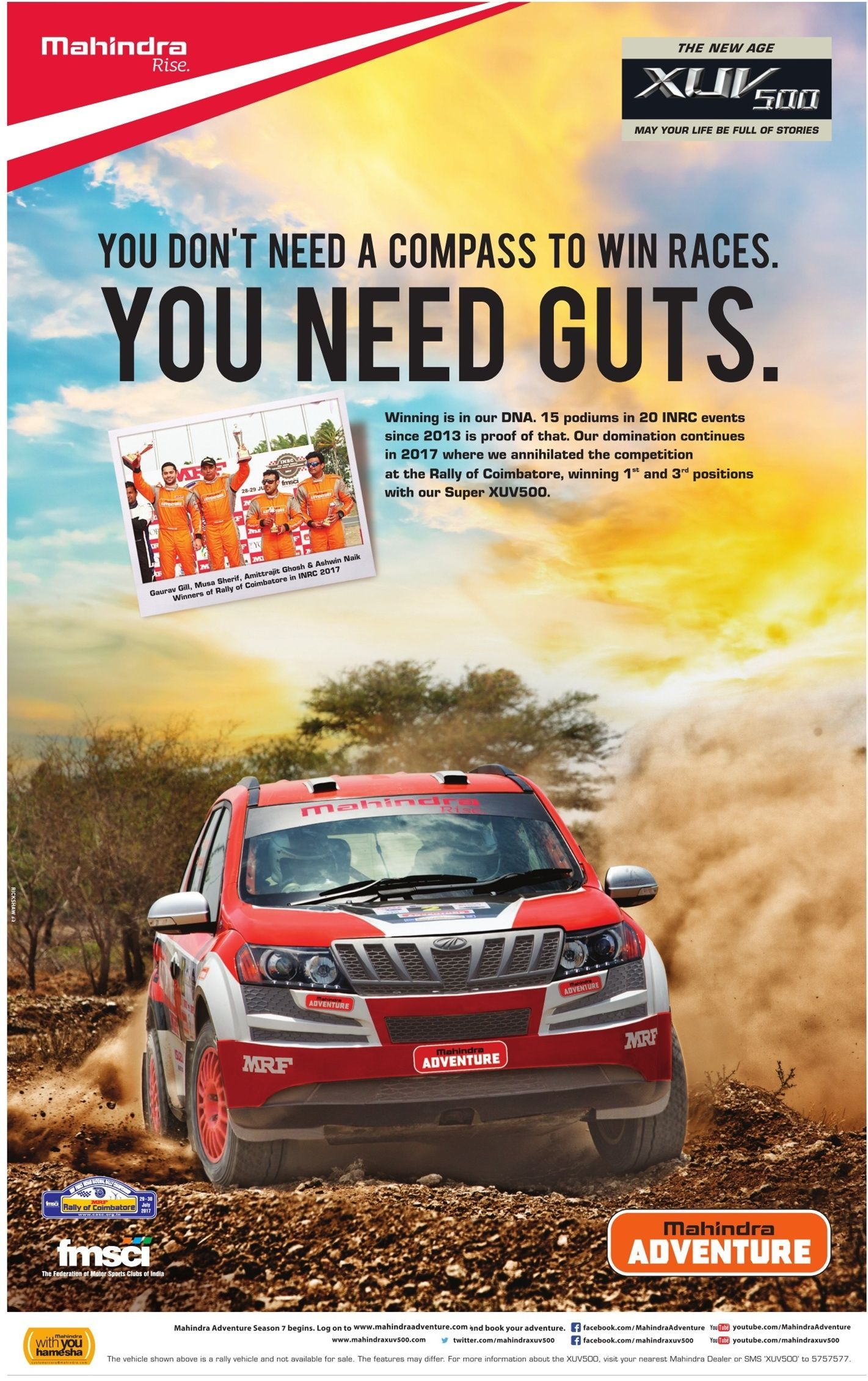 Mahindra Rise Xuv 500 You Dont Need A Compass To Win Races You