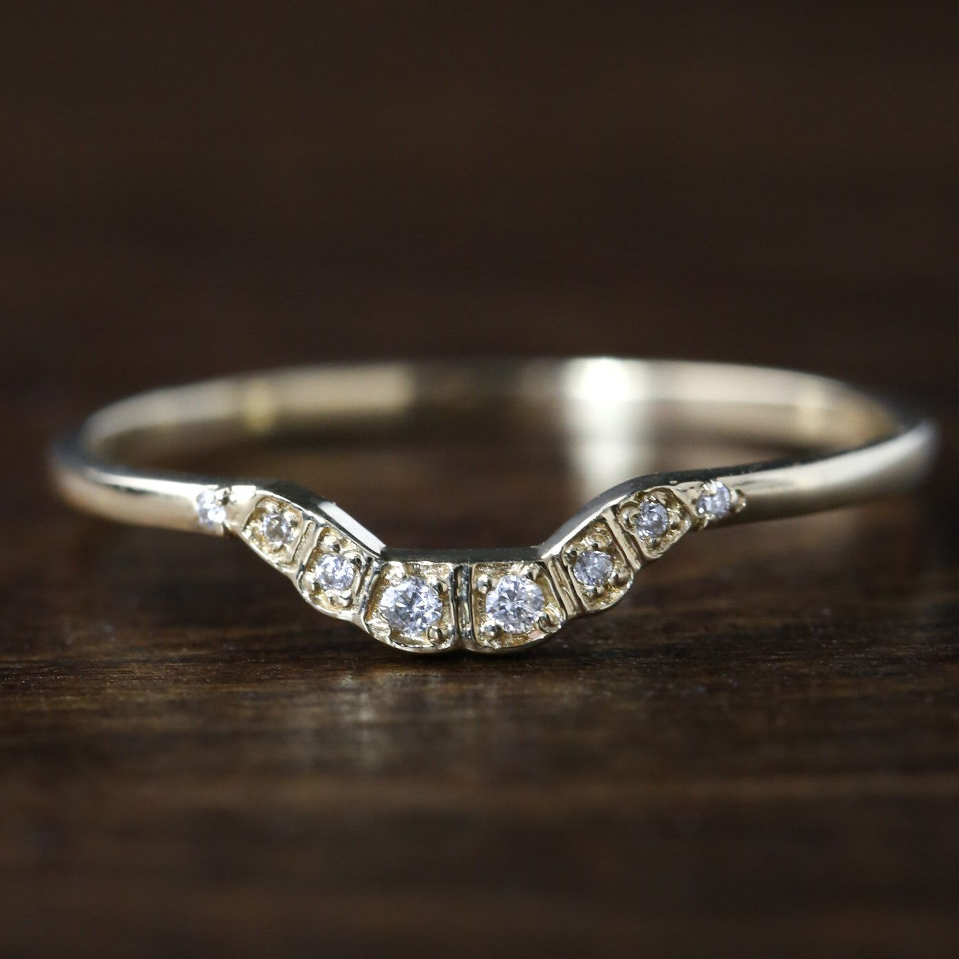 curved diamond wedding band, 14k 18k gold platinum / art