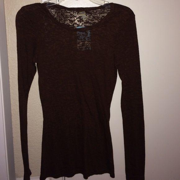 New Top! Brown long sleeve burnout! Tops Tees - Long Sleeve