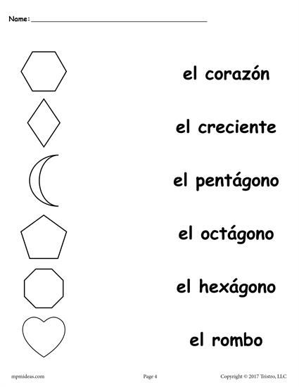 4 FREE Spanish Shapes Matching Worksheets!
