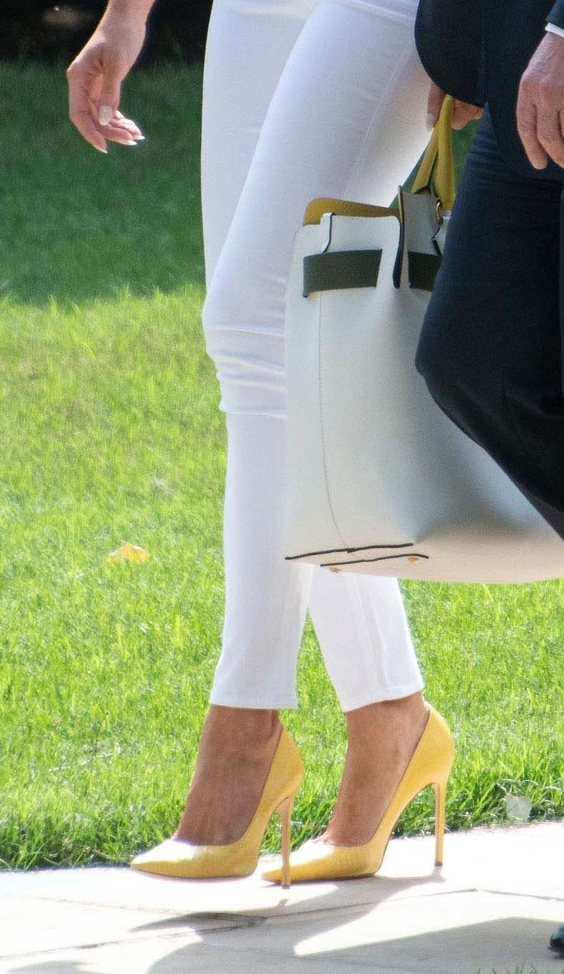 de78729dfc90b manolo blahnik bb pumps, United States President Donald J. Trump and first  lady Melania Trump depart the South Lawn of the White House in Washington,  ...